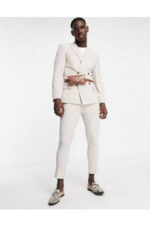 ASOS Tapered suit pants in gray-Neutral