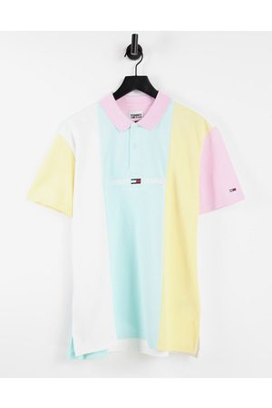 Tommy Jeans Men Polo Shirts - Pastel capsule central logo color block pique polo in aqua coast