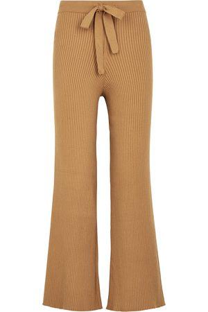 LIVE THE PROCESS Camel ribbed-knit sweatpants