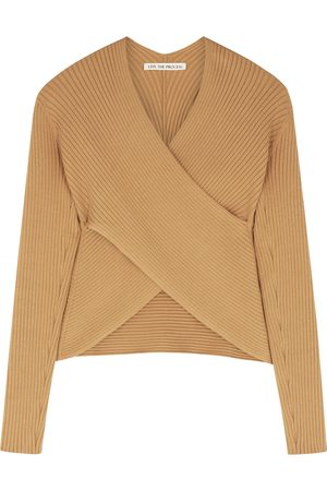 Live The Process Camel ribbed-knit wrap top