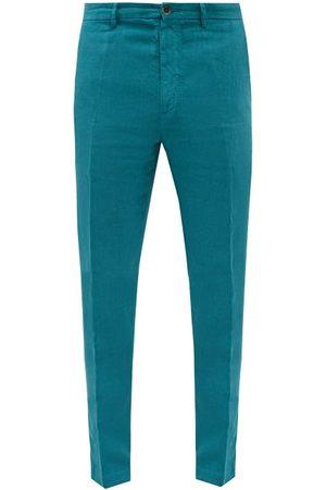 120% Lino Men Skinny Pants - Slim-leg Linen-calico Suit Trousers - Mens