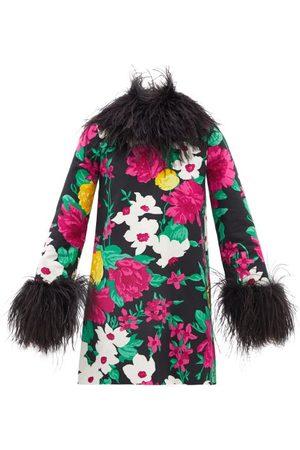 Saint Laurent Feather-trim Floral-jacquard Cotton-faille Dress - Womens - Multi