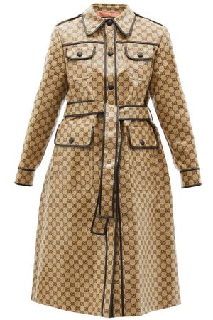 Gucci GG-jacquard Cotton-blend Canvas Trench Coat - Womens
