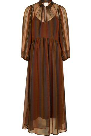 FORTE FORTE Striped silk-chiffon maxi dress