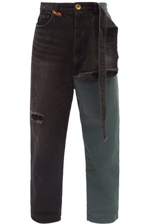 MIHARA YASUHIRO Combined Straight-leg Cotton-twill Chino Jeans - Mens