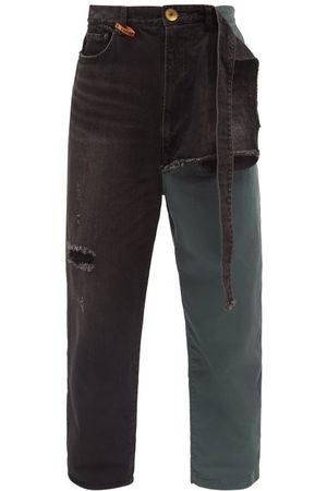 MIHARA YASUHIRO Men Straight - Combined Straight-leg Cotton-twill Chino Jeans - Mens