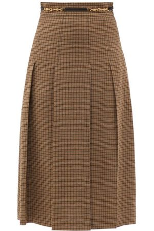 Gucci Pleated Checked Linen Midi Skirt - Womens - Multi