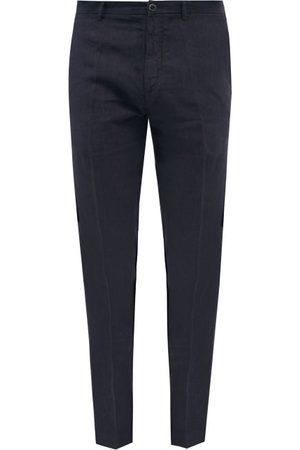 120% Lino Slim-leg Linen-calico Suit Trousers - Mens - Navy