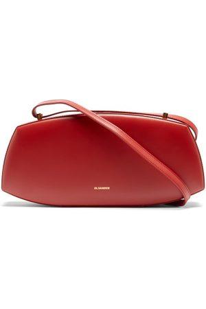 Jil Sander Logo-print Leather Shoulder Bag - Womens - Burgundy