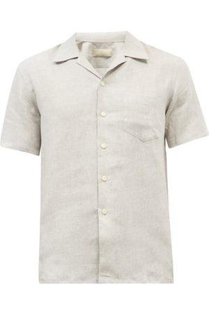 120% Lino Cuban-collar Short-sleeve Linen Shirt - Mens - Grey