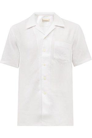 120% Lino Cuban-collar Short-sleeved Linen Shirt - Mens