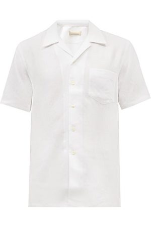 120% Lino Men Short sleeves - Cuban-collar Short-sleeved Linen Shirt - Mens
