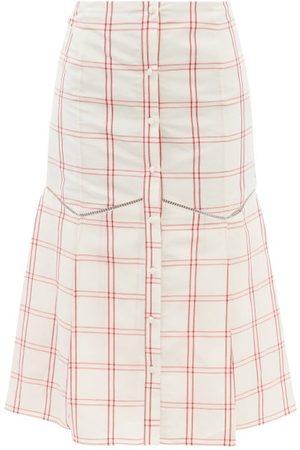 BROCK COLLECTION Tania Windowpane-check Linen-blend Midi Skirt - Womens
