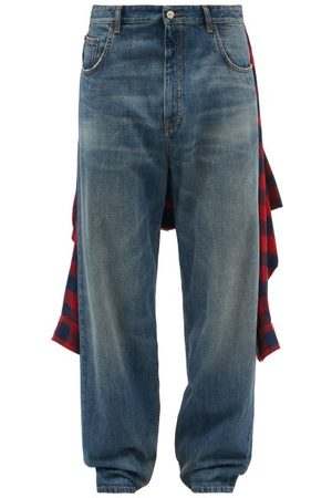 Balenciaga Tied-up Flannel Shirt Relaxed-leg Jeans - Mens