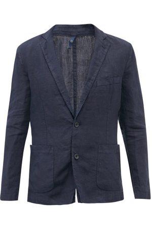 120% Lino Single-breasted Linen Jacket - Mens - Navy