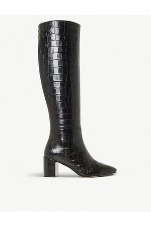 Dune Saffia croc-embossed leather knee-high boots