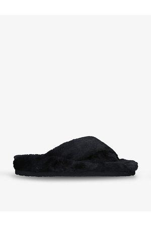 Steve Madden Fuzed open-toe faux-fur slippers