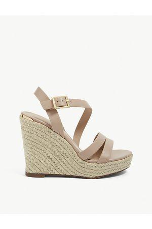 Carvela Women Heeled Sandals - Summer faux-leather espadrille wedge sandals