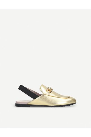 Gucci Princetown metallic leather slingback loafers 4-8 years