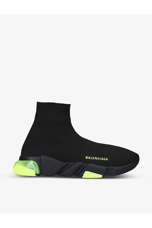 Balenciaga Men's Speed clear-sole stretch-knit mid-top trainers