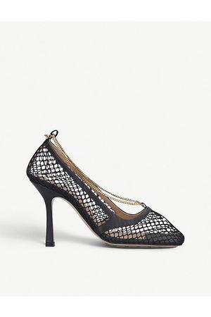 Bottega Veneta Chain-embellished leather and mesh heeled courts