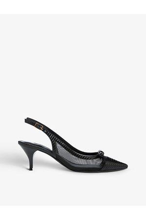 Dune Celeste kitten-heel woven court shoes
