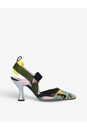 Fendi Colibrì brand-embellished mesh heeled mules