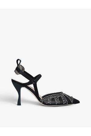 Fendi Colibrì crystal-embellished satin and mesh heeled sandals