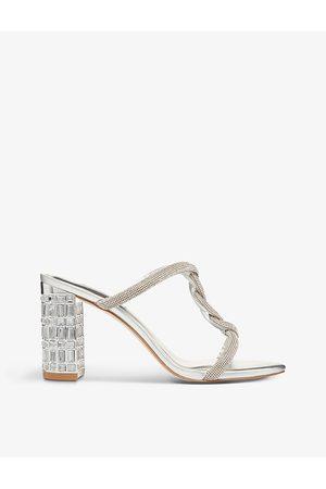 Dune Mist twist-knot embellished heel sandals