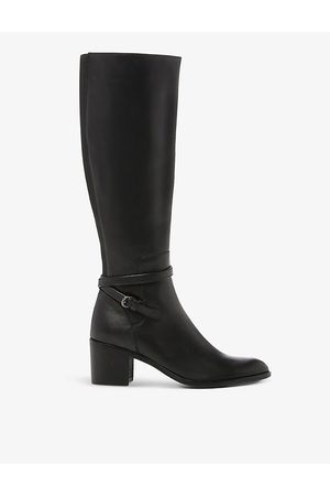 Dune Taxi strap-detail leather knee-high boots