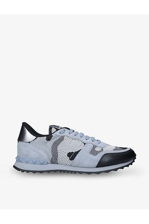 VALENTINO GARAVANI Rockrunner camouflage-pattern mesh and leather low-top trainers