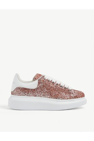 Alexander McQueen Women's Runway glitter-leather platform trainers
