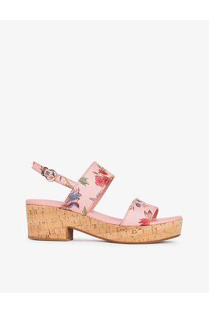 LK Bennett Sunny floral-print leather and cork heeled sandals