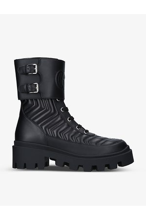 Gucci Frances chevron-quilted leather heeled biker boots