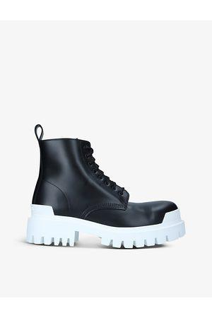 Balenciaga Strike Commando lace-up leather ankle boots
