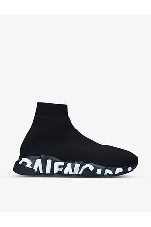 Balenciaga Men Sneakers - Men's Speed Graffiti logo-print stretch-knit trainers