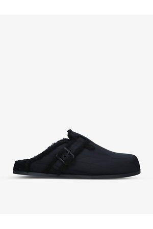 VALENTINO GARAVANI Sabot logo-print faux-fur sandals
