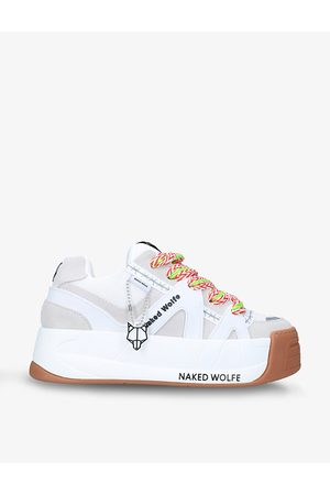 Naked Wolfe Slide leather, suede and mesh platform trainers
