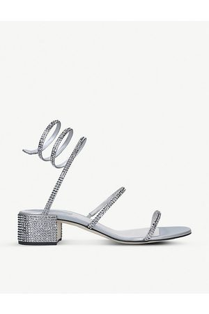 RENÉ CAOVILLA Twirl crystal-embellished satin heeled sandals