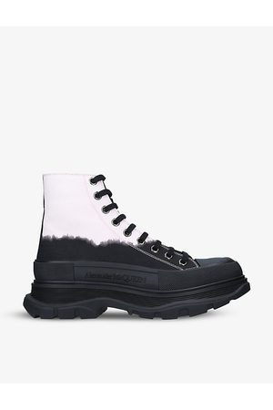 Alexander McQueen Tread Slick bleached cotton-canvas ankle boots