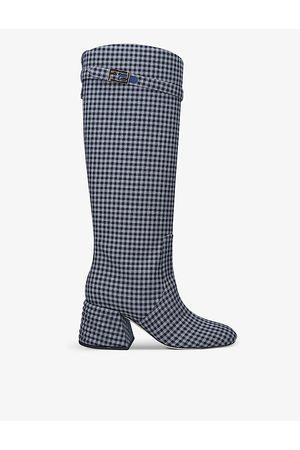 Fendi Promenade Vichy-print knee-high cotton boots