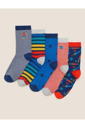 5pk Cotton Space Socks