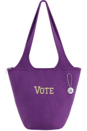 The Sak Custom Recycled Ocean Crochet Large Tote Vote Purple Solid Bag