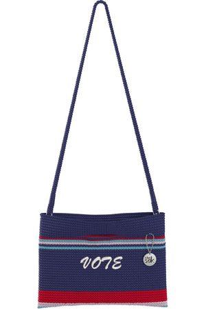 The Sak Custom Recycled Ocean Crochet Convertible Crossbody Vote Red White and Stripe Bag