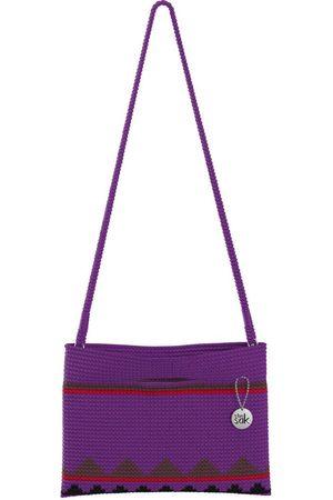The Sak Custom Recycled Ocean Crochet Convertible Crossbody Purple Red and Brown Belize Stripe Bag