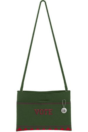 The Sak Custom Recycled Ocean Crochet Convertible Crossbody Vote Green Block Bag