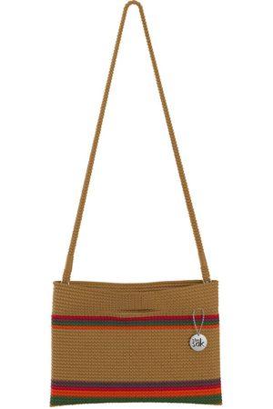 The Sak Custom Recycled Ocean Crochet Convertible Crossbody Tan Red and Green Maui Stripe Bag