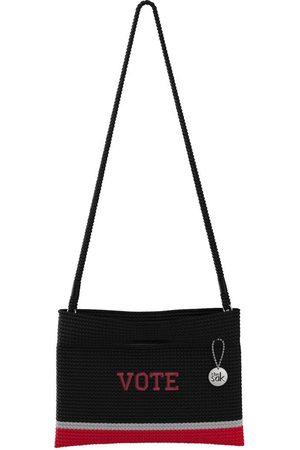 The Sak Custom Recycled Ocean Crochet Convertible Crossbody Vote Black and Red Baja Colorblock Bag