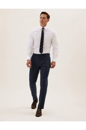 Marks & Spencer Navy Tailored Fit Wool Textured Trousers, Navy
