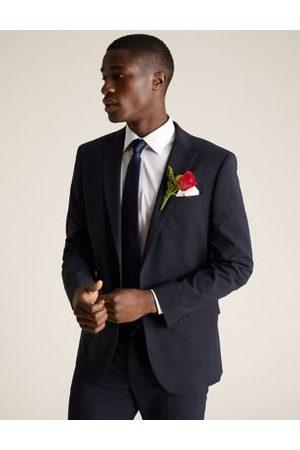Marks & Spencer Navy Regular Fit Check Jacket